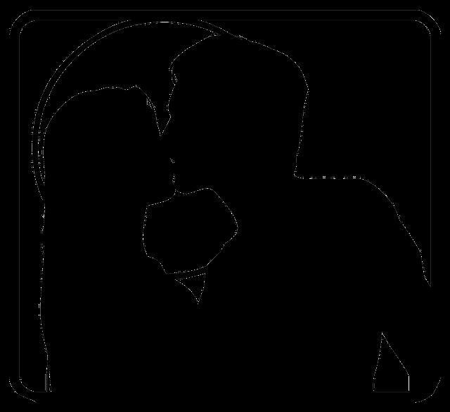 muž, žena, siluety, polibek