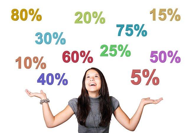 dívka, která má nad sebou procenta